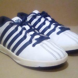 White/Navy K-Swiss Low-Top Court Winston Sneakers